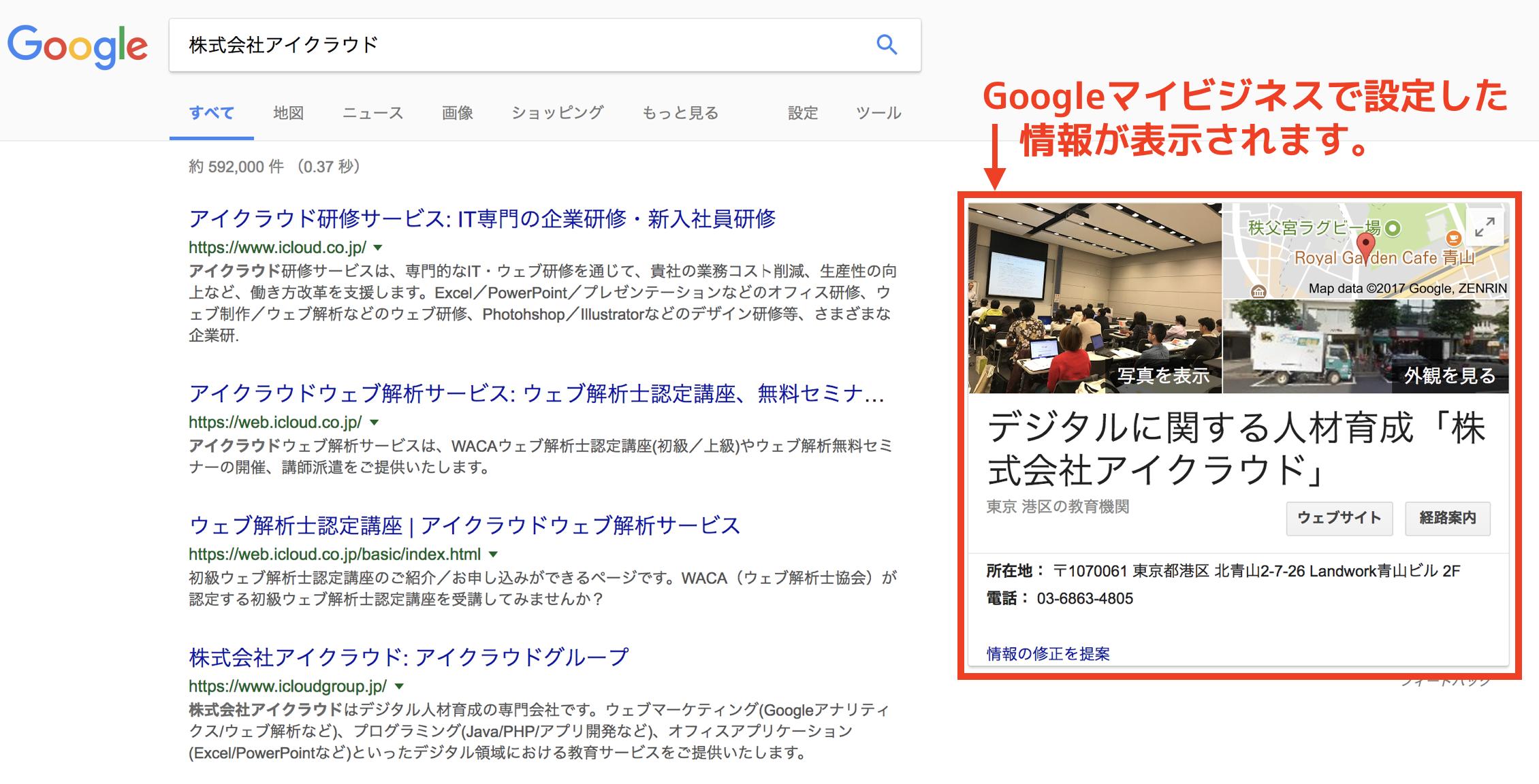 Googleマイビジネスで設定した情報